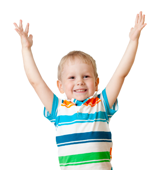 A cheerful young boy in a striped shirt with his hands in the air
