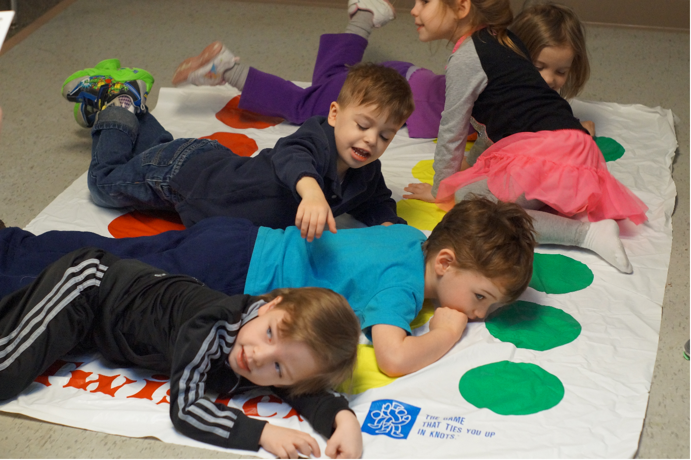 Children playing Twister